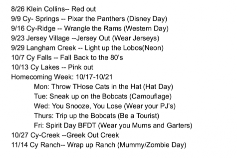 Spirit days for the 2016 football season.