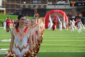 Cadettes in their lines before the game.