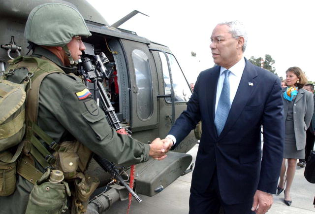 Colin Powell visiting Colombia