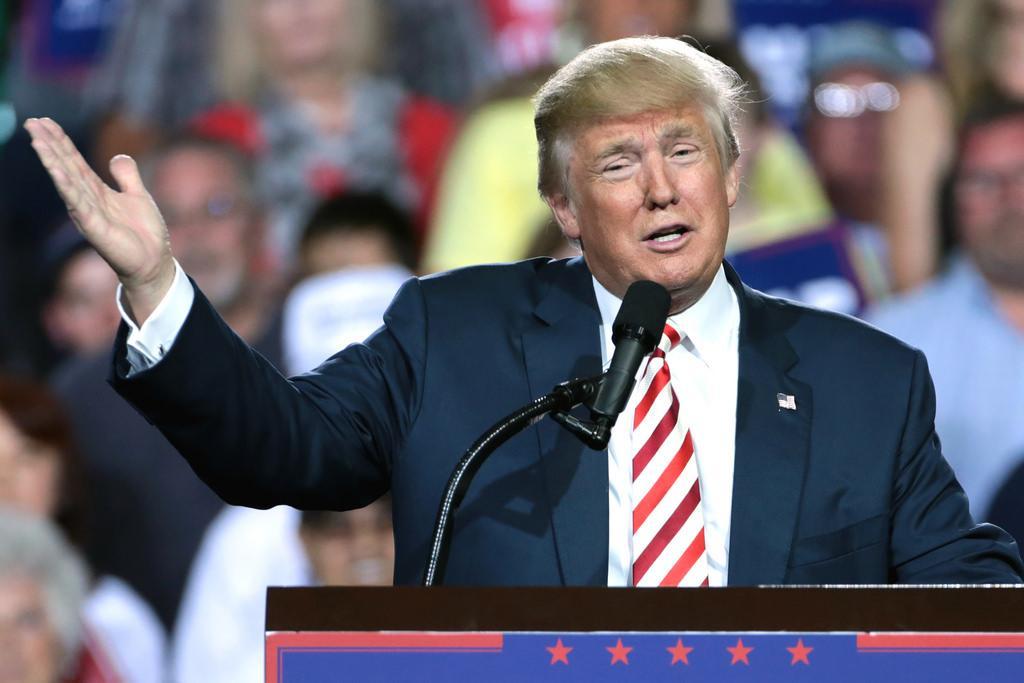 President Elect Trump addressing a crowd.