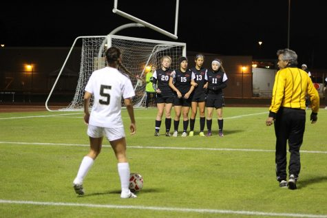 MIranda Carrasco lines up for a free kick friday night against Langham Creek
