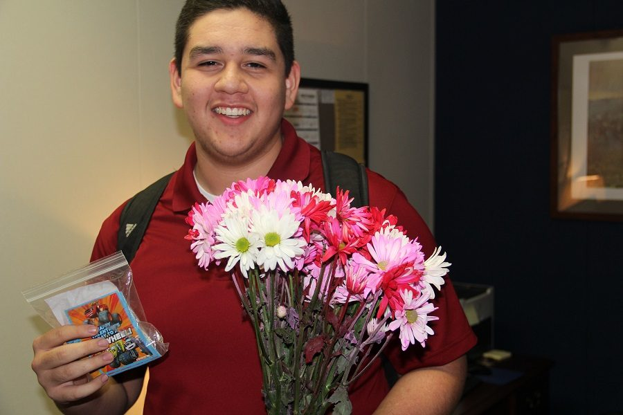 Mario+picks+up+his+flowers+and+cards+just+before+lunch.