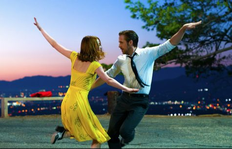 Emma Stone and Ryan Gosling as Mia and Sebastian.