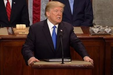 President Donald Trumps speaks at the 2018 State of the Union address.