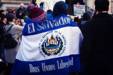Protesters walk with an El Salvador flag banner during the 'Day Without Immigrants' strike in May 2017.
