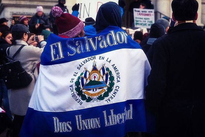 Protesters+walk+with+an+El+Salvador+flag+banner+during+the+%27Day+Without+Immigrants%27+strike+in+May+2017.+