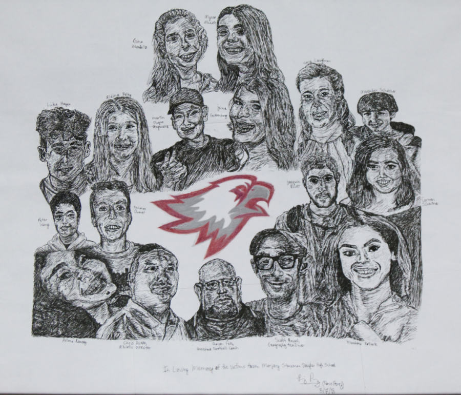 Parkland memorial drawing of the 17 victims, created by Freshman Paris Perez.