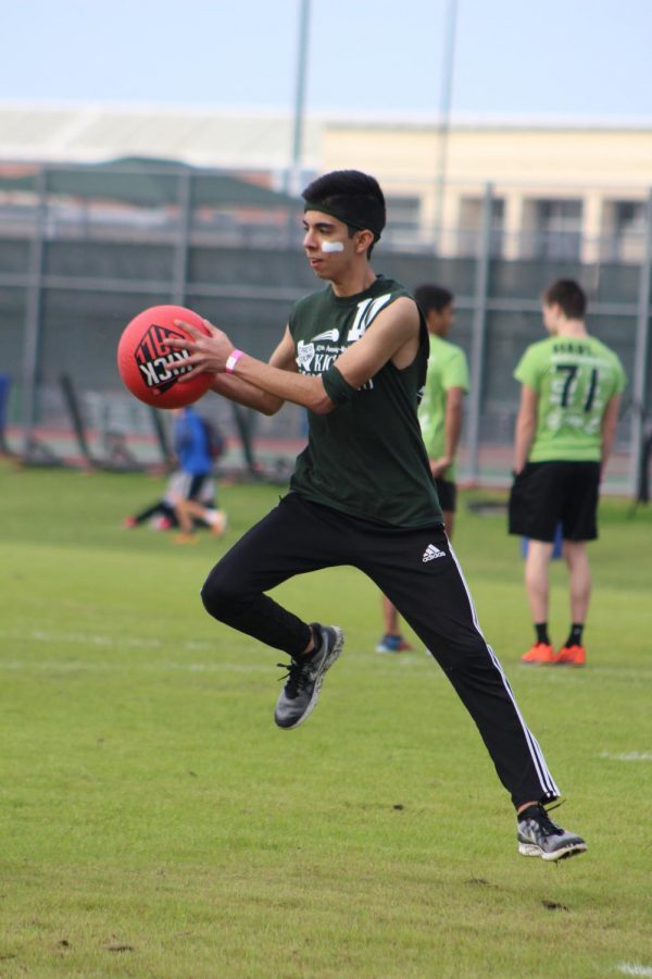 Junior Sebastian Aguirre during the 2018 HOPE Kickball Tournament.