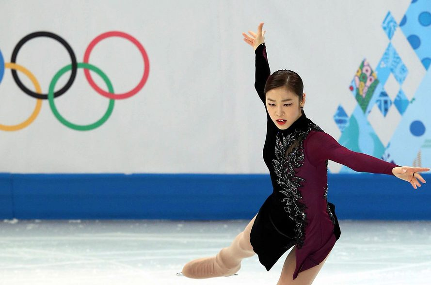 Former Olympic figure skater, Kim Yuna, performing her short program at the 2014 Olympic Winter Games in Sochi