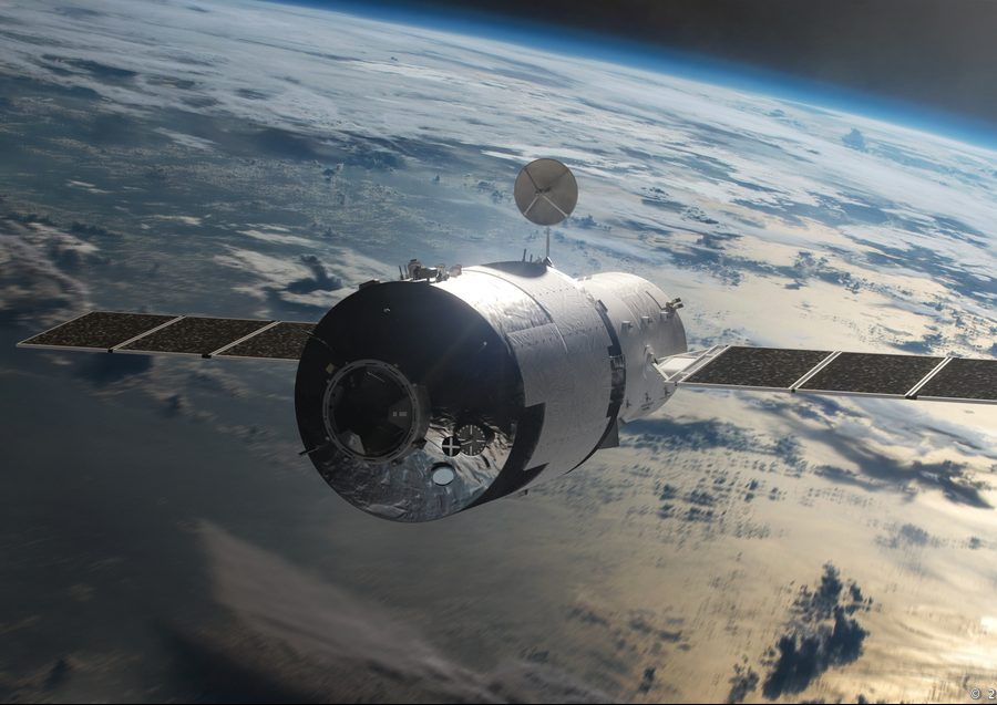 An illustration of Tiangong-1