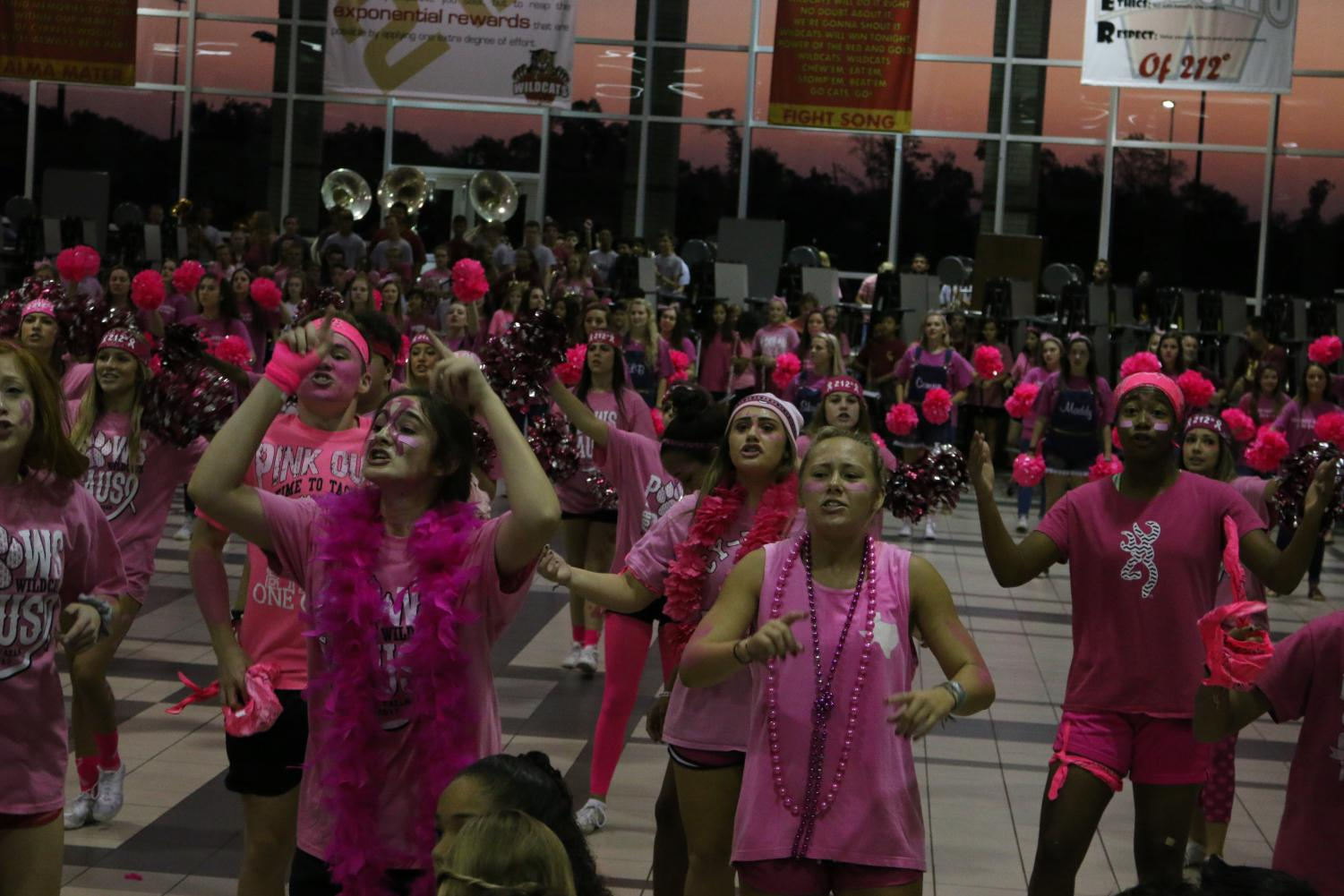 Pink+Out+Day.+Raise+money+for+breast+cancer+awareness+by+buying+a+Pink+Out+shirt+at+school+and+then+wear+everything+pink.