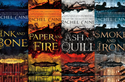 "The four books of ""The Great Library"" series, ""Ink and Bone, ""Paper and Fire,"" ""Ash and Quill,"" and ""Smoke and Iron."""