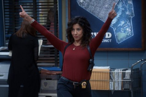 One of the main characters, Rosa Diaz, played by Stephanie Beatriz.