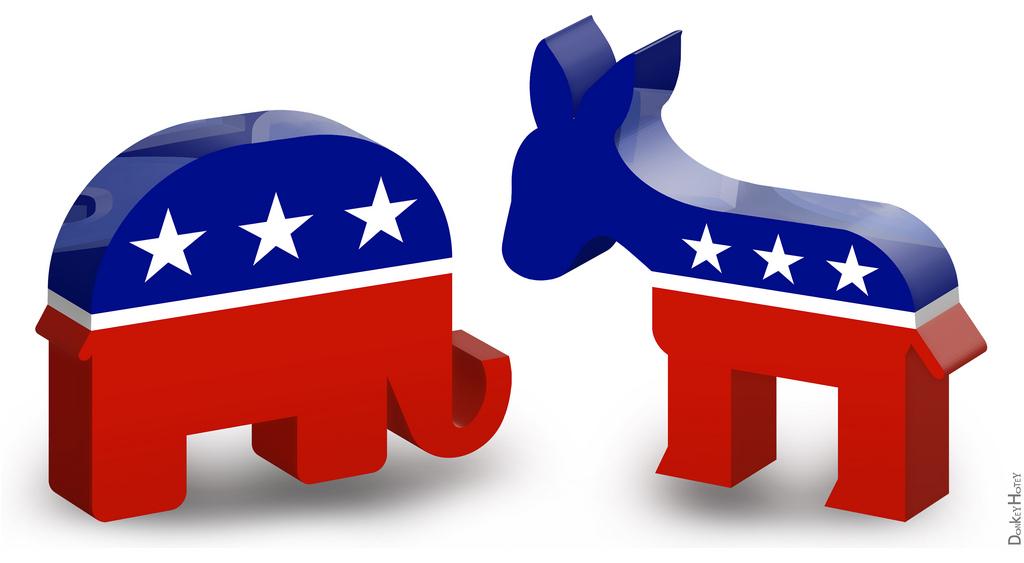 Democratic Donkey & Republican Elephant