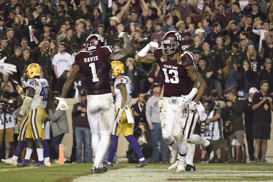 Kendrick Rodgers and Quartney Davis celebrate in the endzone