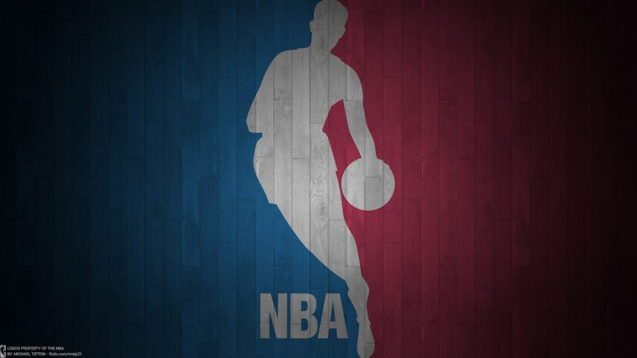 The logo of the NBA, who is former Los Angeles point guard Jerry West