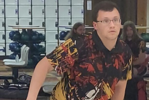 Senior Dakota Dudley rolling the bowling ball