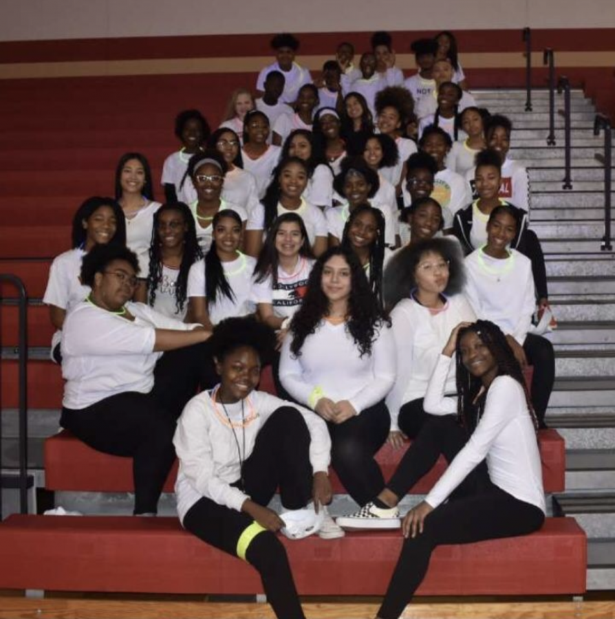 The team's first group picture after their performance at this year's black light pep rally.