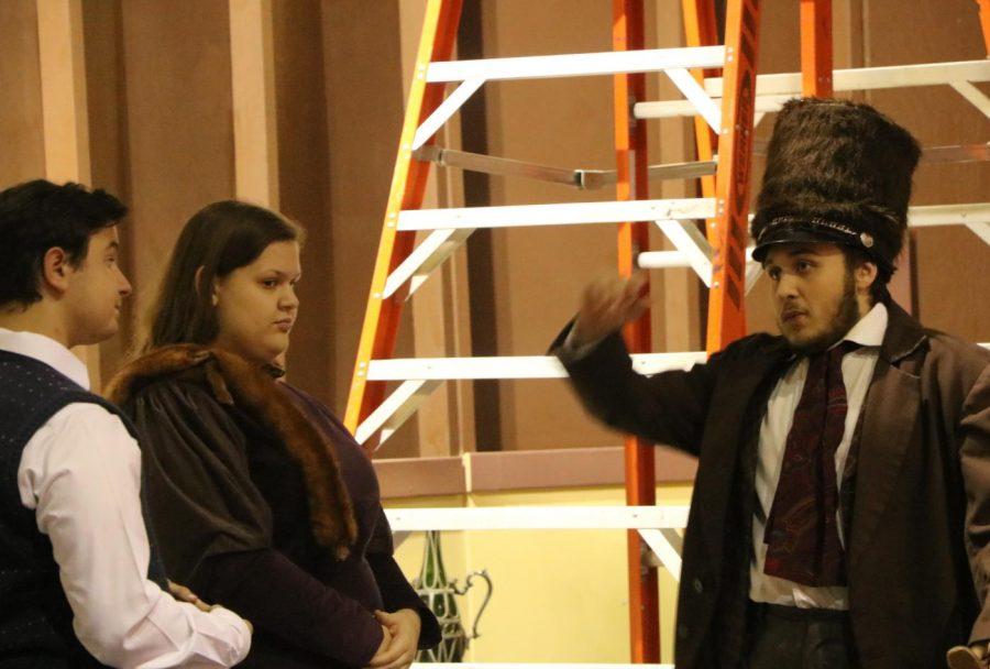 While backstage, Junior Tressel Eckman gets into character as Boris Kolenkhov.
