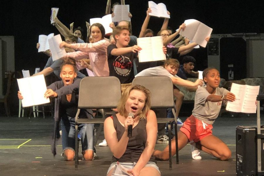 The+cast+of+Junie+B.+Jones+performs+%22Top+Secret+Personal+Beeswax%2C%22+the+opening+number%2C+in+rehearsal.