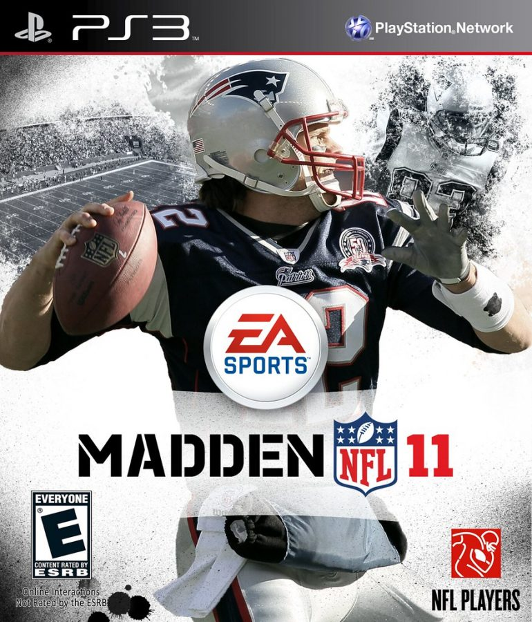 Tom Brady on the cover of Madden, an American football video game.