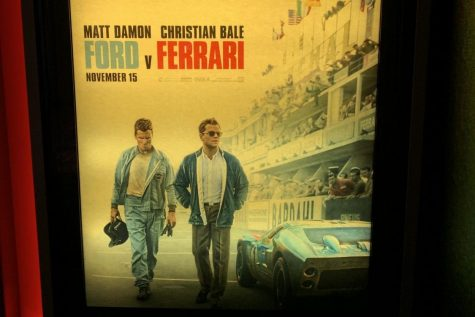 A poster of the new movie Ford v Ferrari.