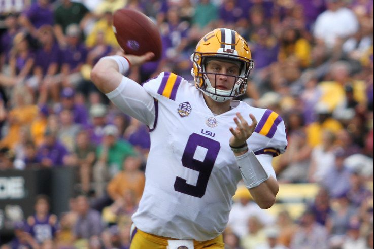 Joe Burrow getting ready to throw the ball against SELU on Sept. 8, 2018 at Tiger Stadium.