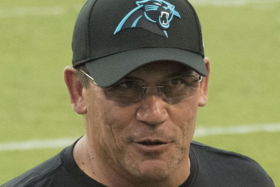 Ron+Rivera+speaks+to+his+offensive+coordinator+about+the+previous+play+on+Aug.+11%2C+2016+against+the+Baltimore+Ravens.