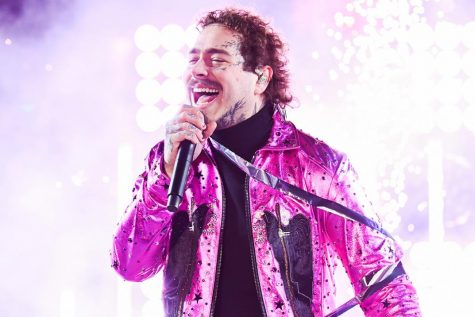Post Malone preforming at Dick Clark