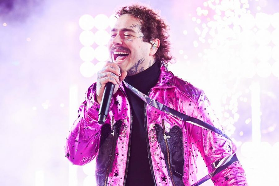 Post Malone preforming at Dick Clark's New Year's Rockin' Eve With Ryan Seacrest 2020.