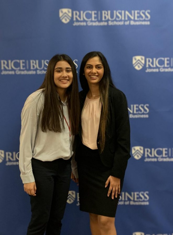 Manocha and Georgian at a Rice University Conference